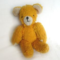 A less usual color. I like the bright fur -- it really sets this one apart. 3 Bears, Teddy Bears, Star Of The Day, Fuzzy Wuzzy, Rabbit, Mid Century, Yellow, Toys, Handmade Gifts