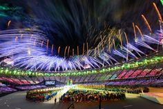 Fireworks explode over the stadium during the Closing Ceremony on Day 16 of the London 2012 Olympic Games at Olympic Stadium on August 12, 2012 in London, England.