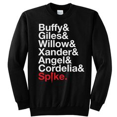 BUFFY The Vampire Slayer and Scooby Gang Unisex Men & Women Crewneck Sweatshirt XL Black