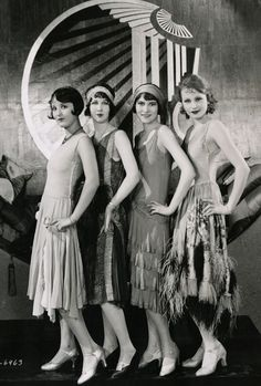 Chorus Girls on the set of Becky, 1927, Costume design by Clement Andre-Ani.  Shoes are the best part