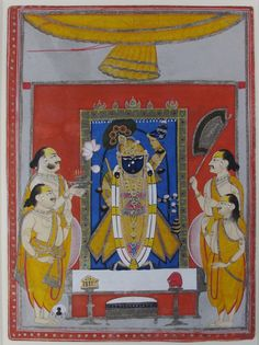 Lot 210 - SRI NATH JI Probably Kotah, Rajasthan, India, first half 19th century gouache with gold and silver