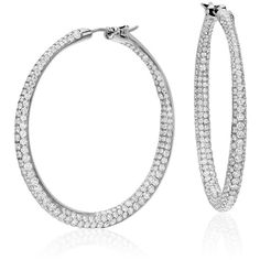 Blue Nile Lucille Diamond Rollover Hoop Earrings (179 335 UAH) ❤ liked on Polyvore featuring jewelry, earrings, diamond earrings, round earrings, blue nile earrings, diamond hoop earrings, hoop earrings and diamond jewelry