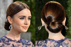 Lily Collin's Half Bow Bun Hairstyle