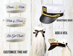 Captain Hat with Veil Nautical Cruise Bachelorette Party Yacht Sailor Bachelorette Cruise, Nautical Bachelorette Party, Nautical Bridal Showers, Bachlorette Party, Bachelorette Ideas, Bachelorette Nashville, Sailor Theme, Sailor Hats, Yacht Party