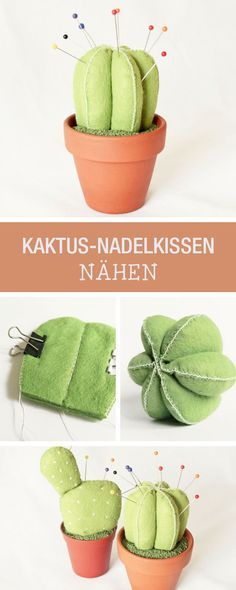 Süßes Nadelkissen in Kaktus-Form nähen / diy sewing tutorial for a pin cushion in shape of a cactus via DaWanda.com
