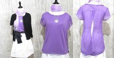 True Freedom Brand Ladies Purple cap sleeve Knit Top with Open Sheer Back, Mediu #TrueFreedom #KnitTop #Casual