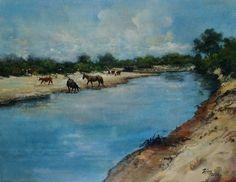Costa de río - Acrílico s/tabla 27 x 35