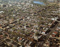 Aerial photo of the Bloomingdale neighborhood in Washington DC from around 1978