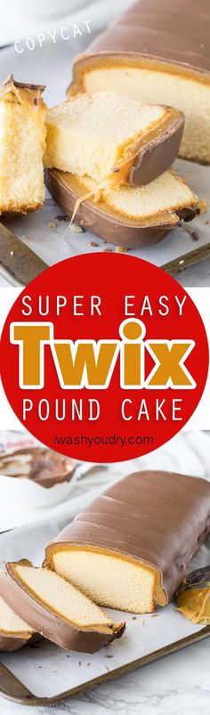 This super easy Twix Pound Cake is a quick dessert that only takes 4 ingredients! No Baking.use a frozen Sara Lee Pound Cake! Easy Desserts, Dessert Recipes, Baking Desserts, Summer Desserts, Weight Watcher Desserts, Vegetarian Cake, Pound Cake Recipes, Pound Cakes, Quick Dessert