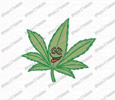 Marijuana Happy Leaf Embroidery Design in 3x3 by Pixels2Threads