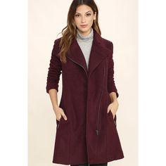 BB Dakota Forsyth Burgundy Coat ($123) ❤ liked on Polyvore featuring outerwear, coats, red, bb dakota, long sleeve asymmetric coat, zip coat, red coat and long sleeve coat