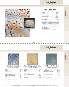 15 tried & true cone 10 glaze recipes. Recipe cards for our favorite high fire pottery glazes. www.ceramicartsdaily.org