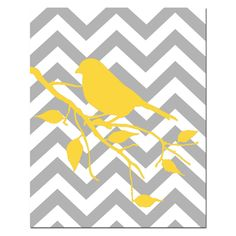 Modern Chevron Bird Silhouette Print - 8 x 10 Chevron Zig Zag - Pick Your Colors - Gray, Yellow, Black, Pink, and More
