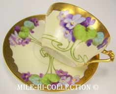 PICKARD LIMOGES HAND PAINTED VIOLETS CUP & SAUCER SIGNED GIBSON