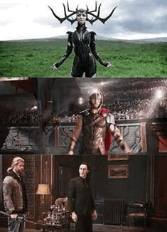 "Marvel Thor Ragnarok gif The Odin family "" fight me"" stance. Is it just me or does hela and thors knives things look kinda plastic and then there's loki lik, daggers. Marvel Fanart, Films Marvel, Marvel Jokes, Avengers Memes, Marvel Funny, Thor Meme, Loki Thor, Hela Thor, Thor Ragnarok Hela"