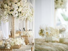 White, cream and gold centerpiece, Inspiration for Mobella Events, www.mobellaevents.com
