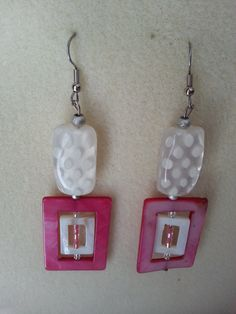 Fun Pink and White Shell Earrings by sweetmelissasshop on Etsy, $7.00