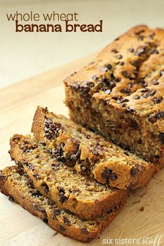 Whole Wheat Chocolate Chip Banana Bread on SixSistersStuff