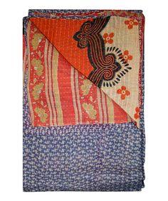 Blue & Red Handmade Kantha Throw #zulily #zulilyfinds