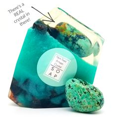 Turquoise Crystal Soap With A Real Stone In Each Vegan Bar Ylang Ylang Essential Oil Scent - Make Up Tutorials, Crystals And Gemstones, Stones And Crystals, Turquoise Rose, Vegan Bar, Essential Oil Scents, Soap Base, Glycerin Soap, Fragrance Oil