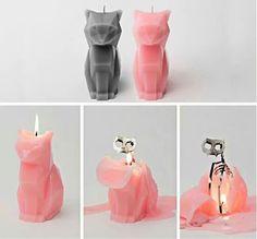 Skeleton kitty candle