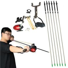 New 12 pcs Fishing Arrows + Sniper Power Shooting Slingshot Fishing Bow Arrow Slingshots Catapult Hunting