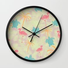 Tropical pattern wall clock from Sunshine Inspired Designs available at Society6.