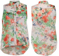 Xclusive Collection Women's Floral Sleeves Collared Button Up Blouse Shirt