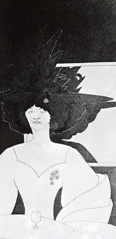 'Waiting', 1893 Aubrey Beardsley - by style - Art Nouveau (Modern) Illustrator, Japanese Woodcut, Art Nouveau Poster, Aubrey Beardsley, Post Impressionism, Black And White Illustration, Design Graphique, Graphic, Modern Art