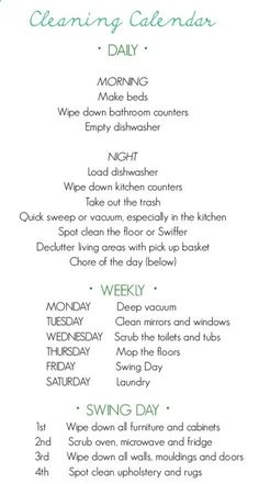 Weekly cleaning list - Click image to find more DIY  Crafts Pinterest pins
