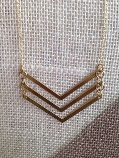 Gold // Raw // Brass // Long // Chevron // Necklace // by AmiLeone