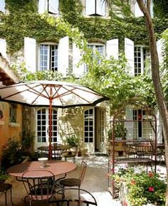Hotel de l'Atelier  Provence, France    The Location: A mile from Avignon in southeastern France, the medieval town of Villeneuve sits high on a rocky escarpment above the Rhône. Ivy twists up the walls of Hotel de l'Atelier, a pretty 16th-century maison that was a silk workshop in its last incarnation.