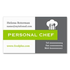 Personal chef minimalist grey, white, lime green business card template. #businesscards, #personalchef, #chefcap, #toque, #green, #grey