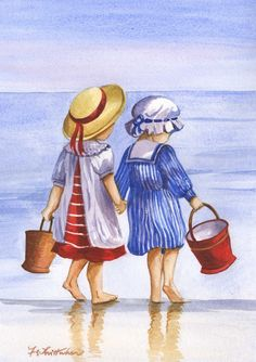 Red Buckets - Faye Whittaker Arts, All Our Yesterdays Cross Stitch and Original Art Wesbsite