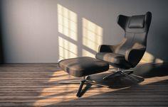 Interior scene, rendered in KeyShot by Alexandre Larnac. Interior Rendering, Floor Chair, Architecture, Gallery, Furniture, Composition, Sketches, Scene, Graphic Design