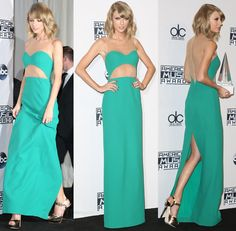 Taylor Swift Flaunts Flat Stomach in Michael Kors Gown and Jimmy Choo Heels