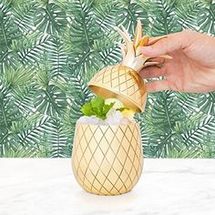 Pineapple Cocktail Shaker – Pineapple Tumbler in Gold, Bronze, or Silver – 12 oz Bar Shaker – Vintage Cocktail Shaker – Pineapple Tumbler – Tiki Mug Mason Martini Shaker in Gift Box (Gold). Make mixed drinks in style with the Pineapple Tumbler, the novel two-piece mixed drink shaker that harkens to periods past. Blend drinks like an expert barkeep! The pineapple has for quite some time been perceived as an image of neighborliness and warm welcome. Enlivened by the exemplary mid-century…