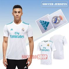 Custom Made Classic White Real Madrid Home New Soccer Jerseys With My Name 2017 2018 Personalised
