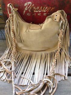 Fring Bag / Boho Bag / Beige Suede Fringe Bag / by MLMhandbags, $157.00