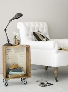 upcycled crate into side table