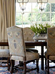 Tobi Fairley - Love this dining room fabric (and the rug, and the lighting, and...)