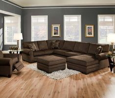 Grey walls with brown furniture and oak house - Brown goes with what color ...
