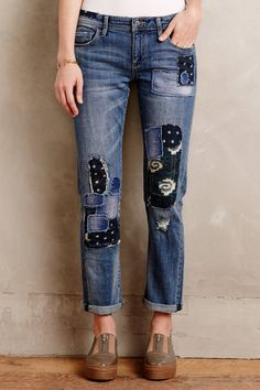 Pilcro Hyphen Patchwork Jeans, Source by clothes ideas recycling Diy Jeans, Lässigen Jeans, Patched Jeans, Recycle Jeans, Slouch Jeans, Ripped Jeans, Patchwork Jeans, Alter Pullover, Estilo Jeans