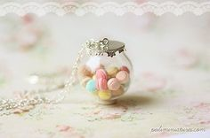 Pastel Macarons Glass Dome Necklace  by miniaturepatisserie