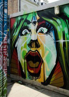 Street Art London. Bold colours & comic book stylings merge for this vibrant work by artist Jaykaes. Blackall Street, Shoreditch, London, UK. Taken June 2016.