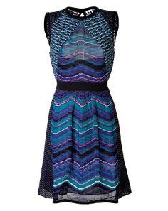 Mixed Knit Dress w/Mesh Detail