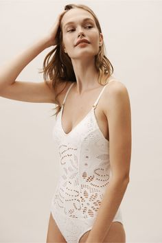 4af0019319 BHLDN s Pilyq Catherine One-Piece Swimsuit in Ivory Sexy Dessous