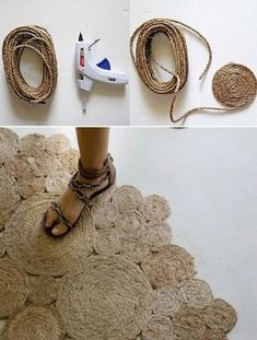 Rugs are essential items to make the environment more cozy. Rope Crafts, Diy And Crafts, Arts And Crafts, Sisal, Diy Deco Rangement, Diy Tapis, Jute Mats, Rope Basket, Diy Art