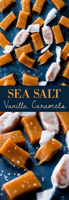 Soft and chewy homemade sea salt caramels with vanilla! Learn how to make them with easy directions and recipe on sallysbakingaddiction.com