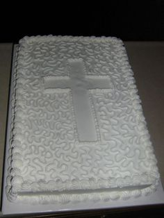 Baptism Cake - This is a sheet cake with cornelli lace for the simple decoration. They wanted a simple designed sheet cake for their celebration. First Communion Cakes, First Holy Communion, Baptism Sheet Cake, Baptism Cakes, Baptism Party, Christian Cakes, Bolo Neon, Sheet Cake Designs, Cross Cakes